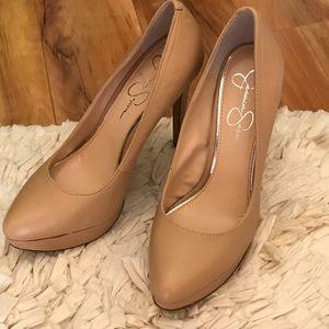Jessica Simpson nude leather heels